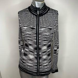 Belldini Size Large Black & White Zip Sweater